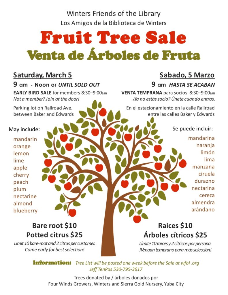 Winters Friends of the Library Fruit Tree Sale March 5, 2016
