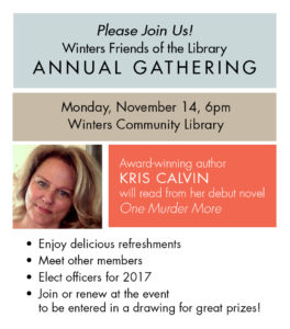 Author Kris Calvin Speaks at Winters Friends of the Library Annual Gathering on November 14